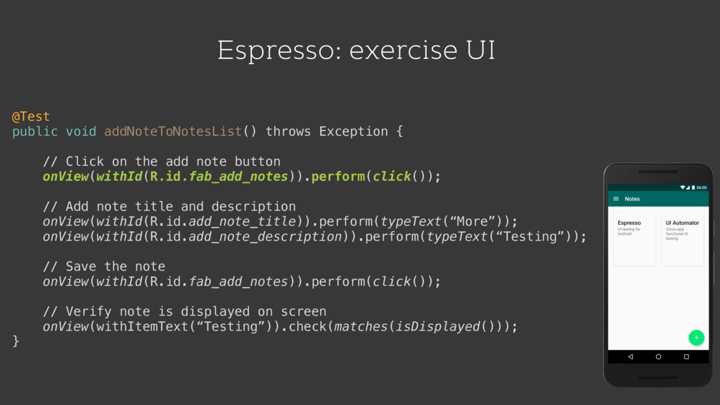 Espresso: exercise UI @Test