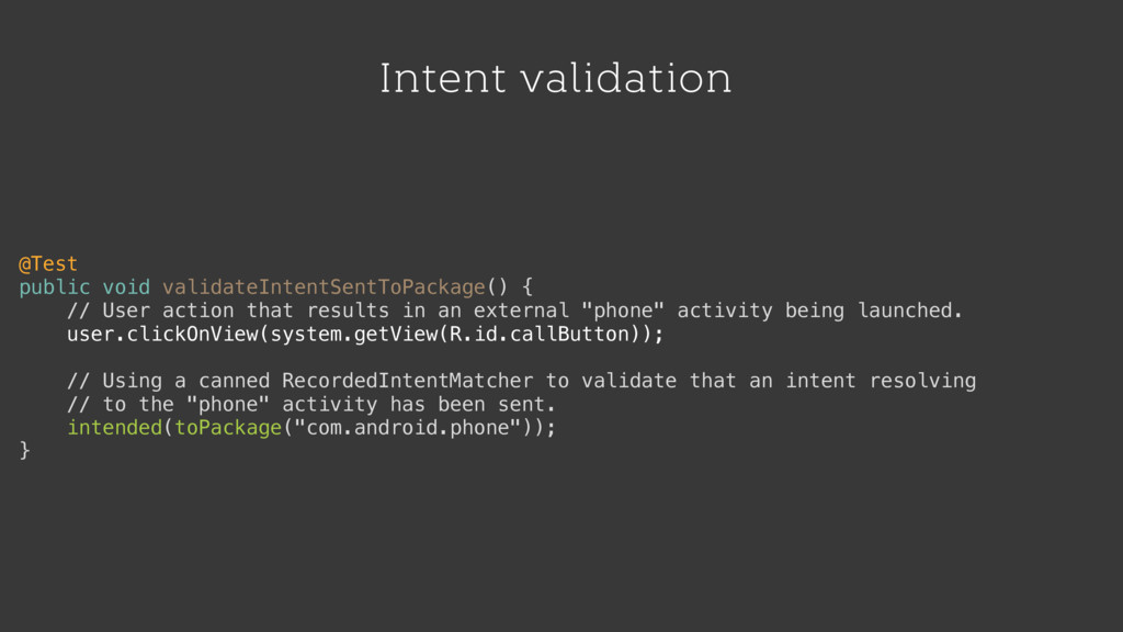 Intent validation @Test public void validateInt...