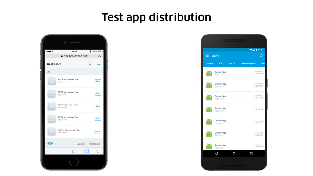 Test app distribution