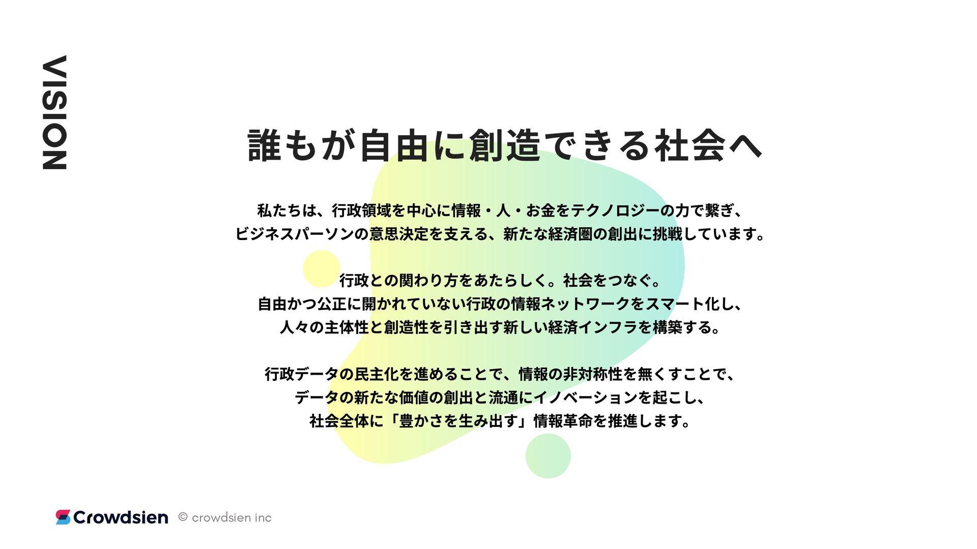 VISION もが⾃由に できる へ たちは、⾏政領域を中 に情 ・ ・お金をテクノロジーの⼒...
