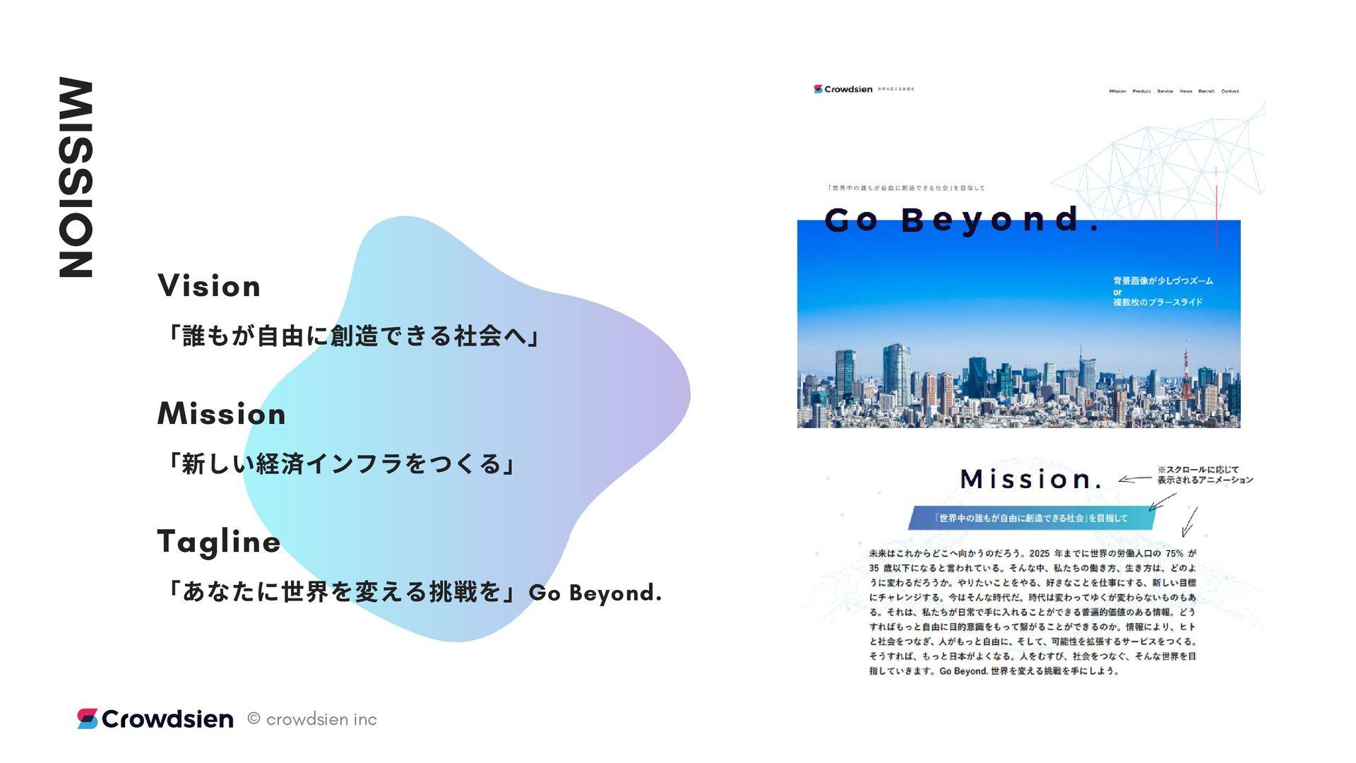 MISSION Vision 「 もが⾃由に できる へ」 Mission 「 しい インフラ...