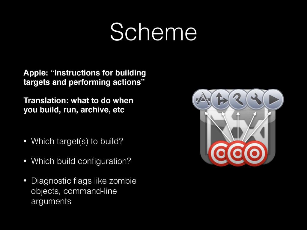 "Scheme Apple: ""Instructions for building target..."