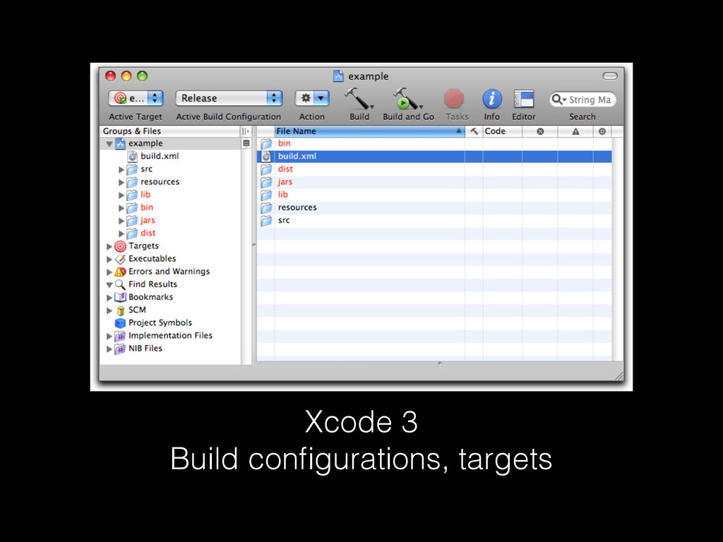 Xcode 3 Build configurations, targets