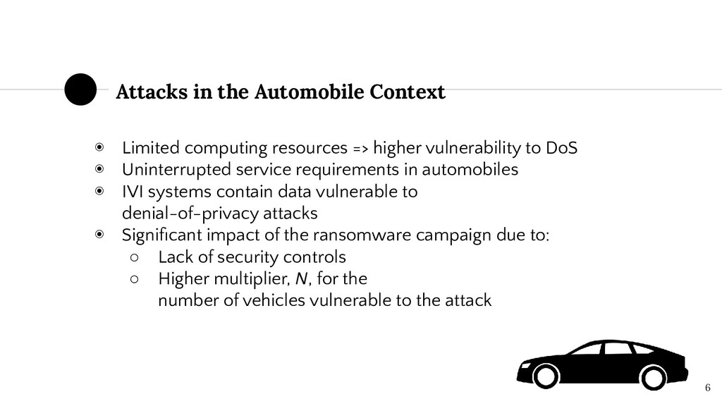 Attacks in the Automobile Context 6 ◉ Limited c...