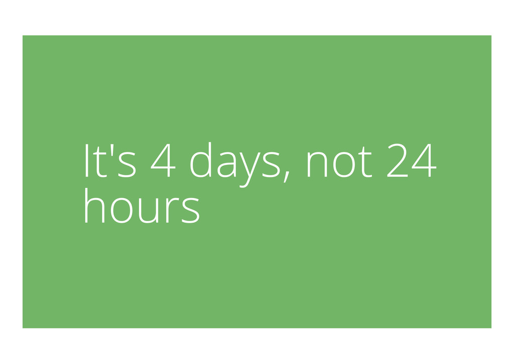It's 4 days, not 24 hours
