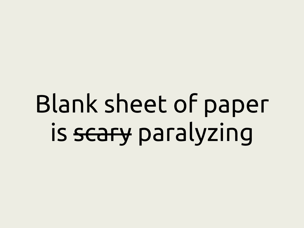 Blank sheet of paper is scary paralyzing