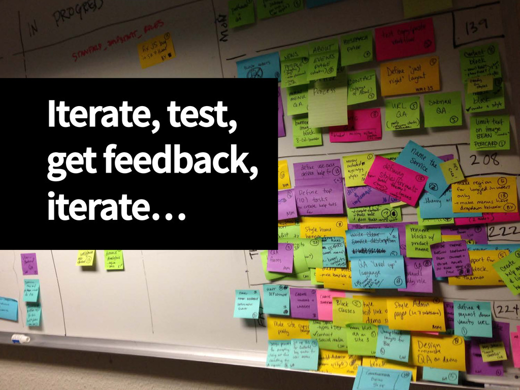 Iterate, test, get feedback, iterate…