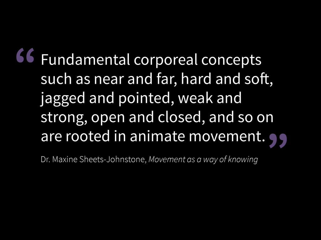 Fundamental corporeal concepts such as near and...