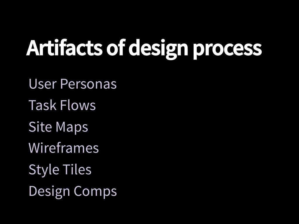 Artifacts of design process User Personas Tas...