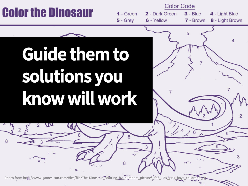 Guide them to solutions you know will work Pho...