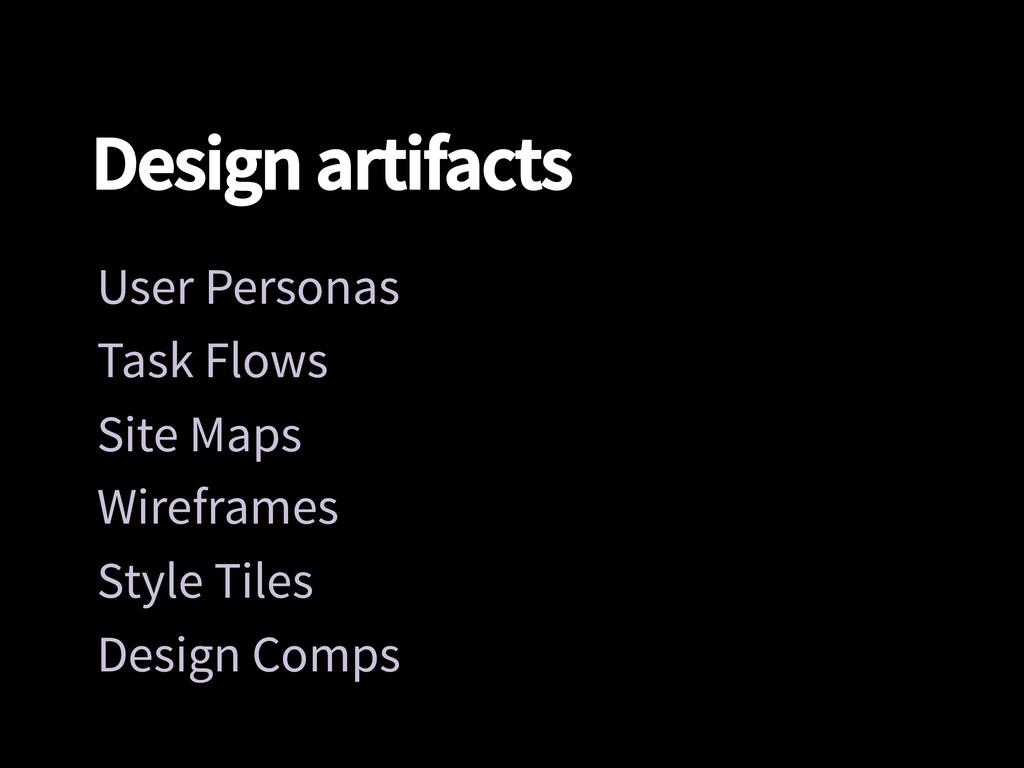Design artifacts User Personas Task Flows Si...