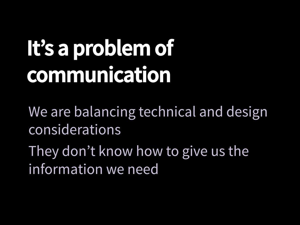 It's a problem of communication We are balanci...