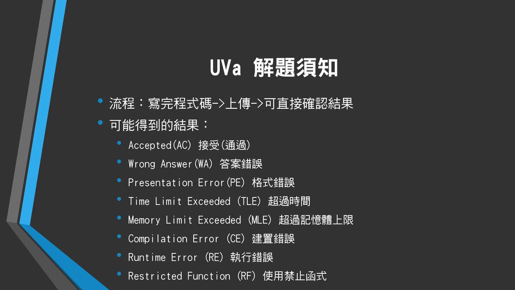 UVa 解題須知 • 流程:寫完程式碼->上傳->可直接確認結果 • 可能得到的結果: • A...