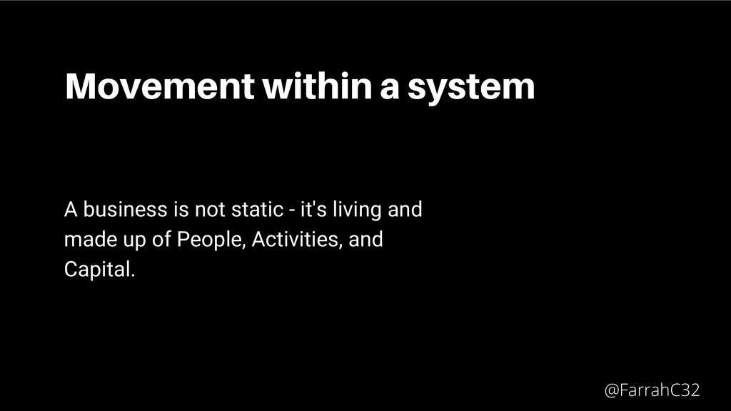 Movement within a system A business is not stat...