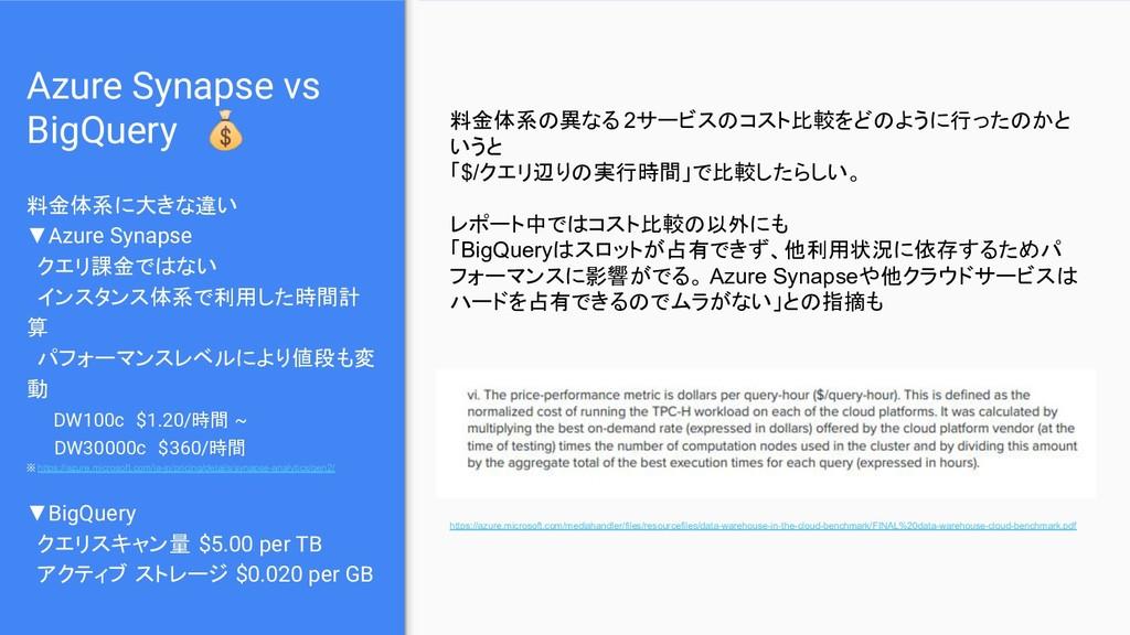 Azure Synapse vs BigQuery  料金体系に大きな違い ▼Azure Sy...
