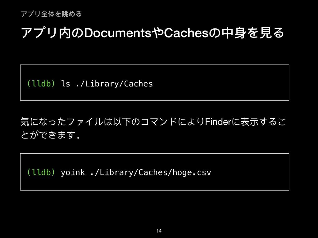アプリ内のDocumentsやCachesの中身を⾒る   気になったファイルは以下のコマンド...