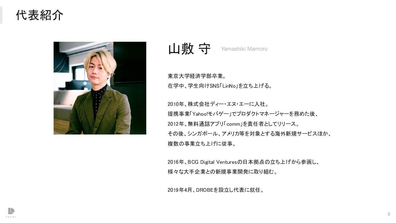 代表紹介 5 山敷 守 Yamashiki Mamoru 東京大学経済学部卒業。  在学...