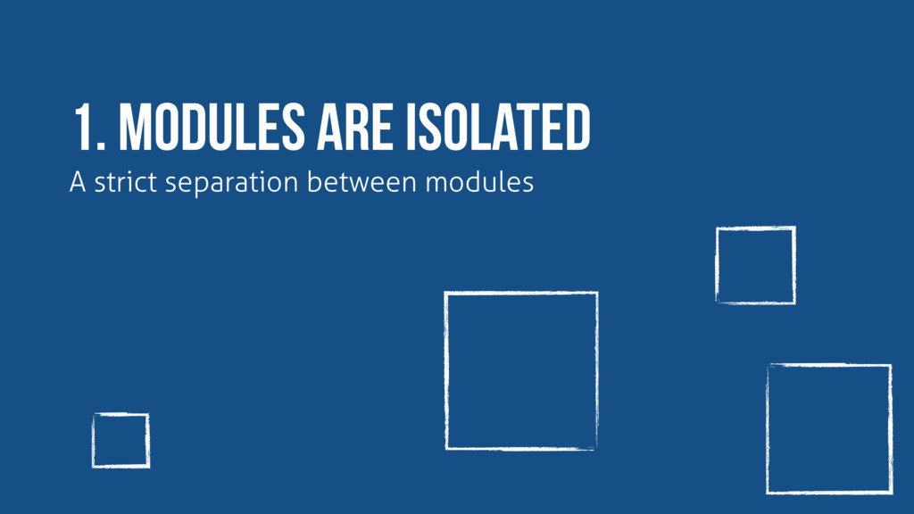 1. modules are isolated A strict separation bet...