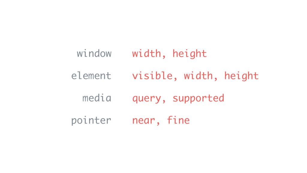 window element media pointer width, height visi...