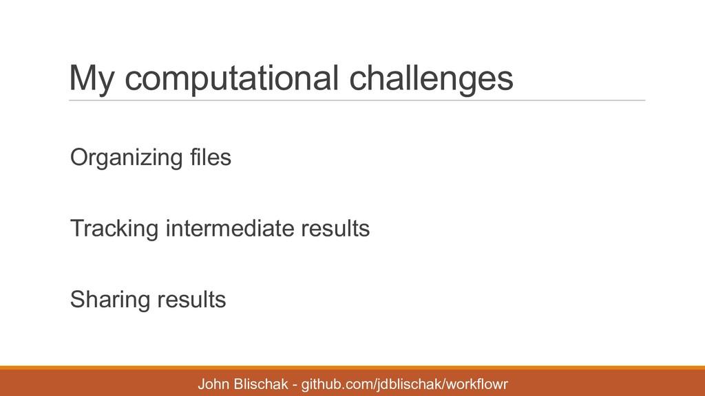 My computational challenges Organizing files...