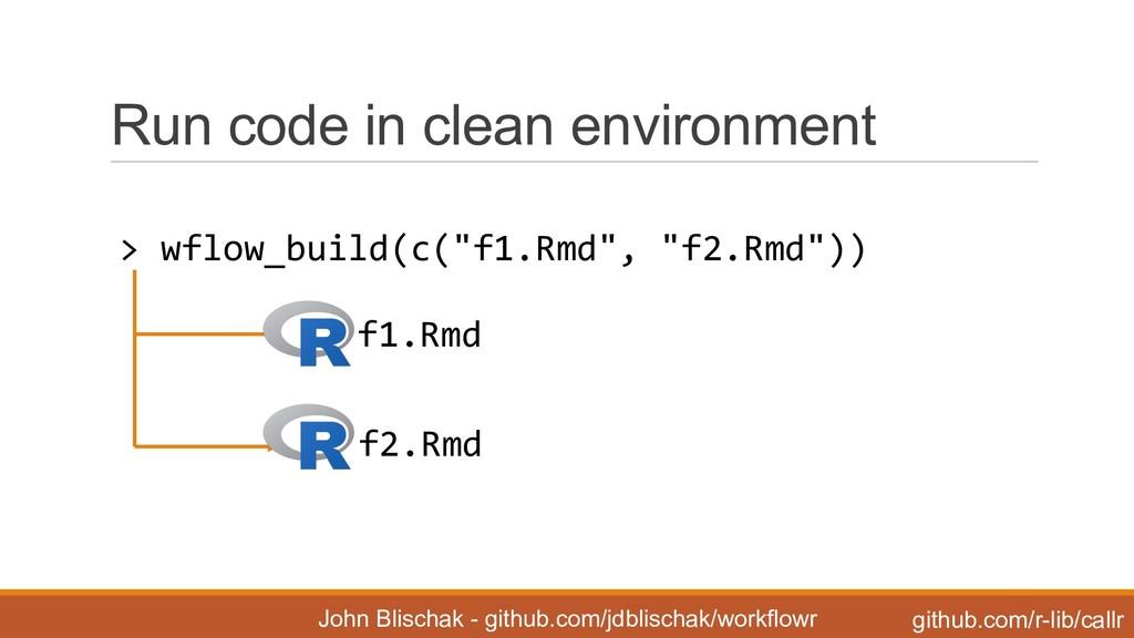 Run code in clean environment John Blischa...