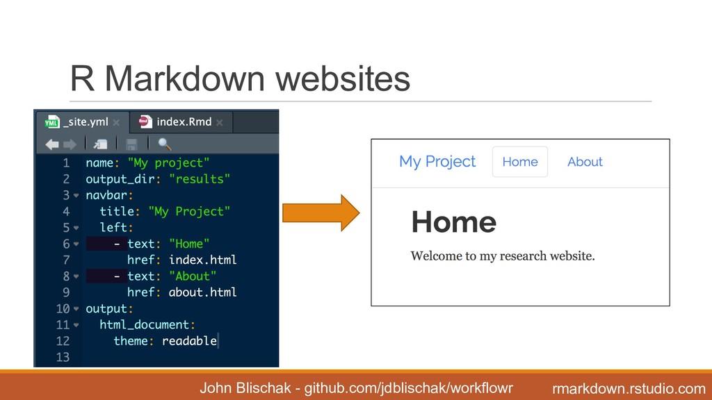 R Markdown websites John Blischak - github...