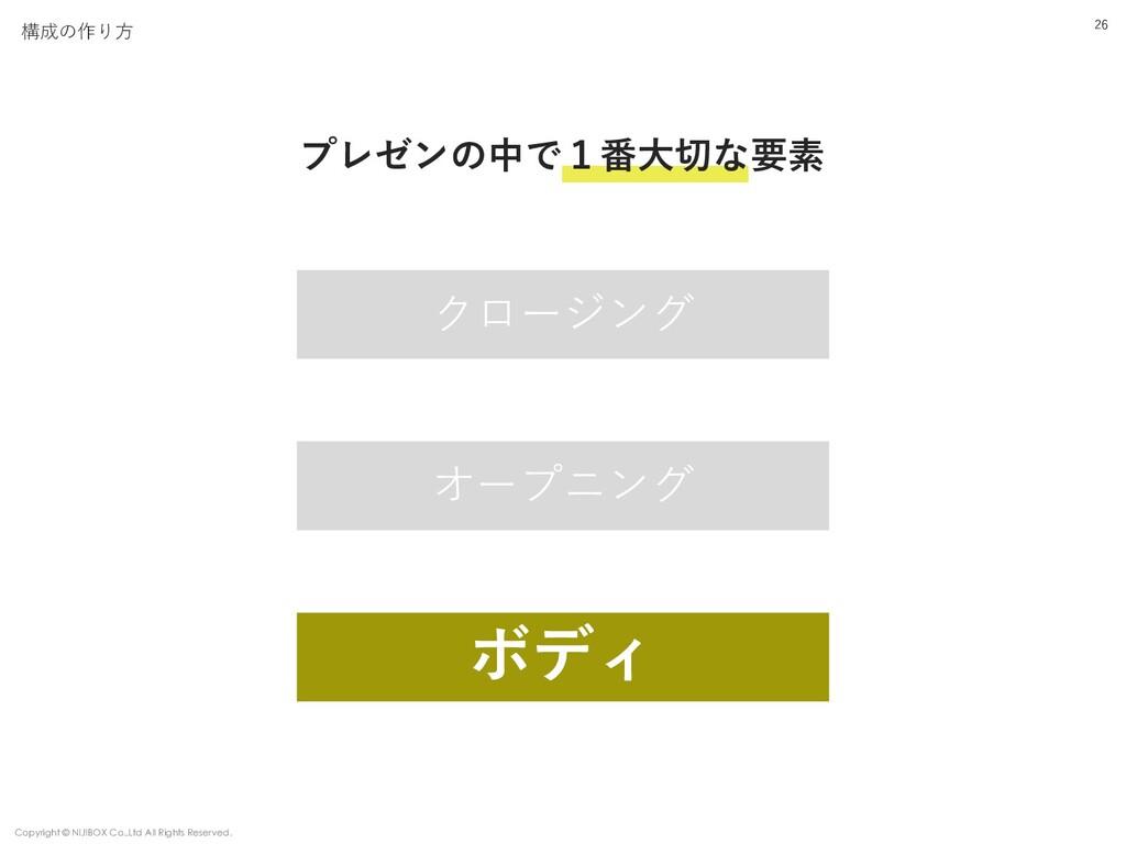構成の作り⽅ オープニング ボディ クロージング プレゼンの中で1番⼤切な要素 26 Copy...