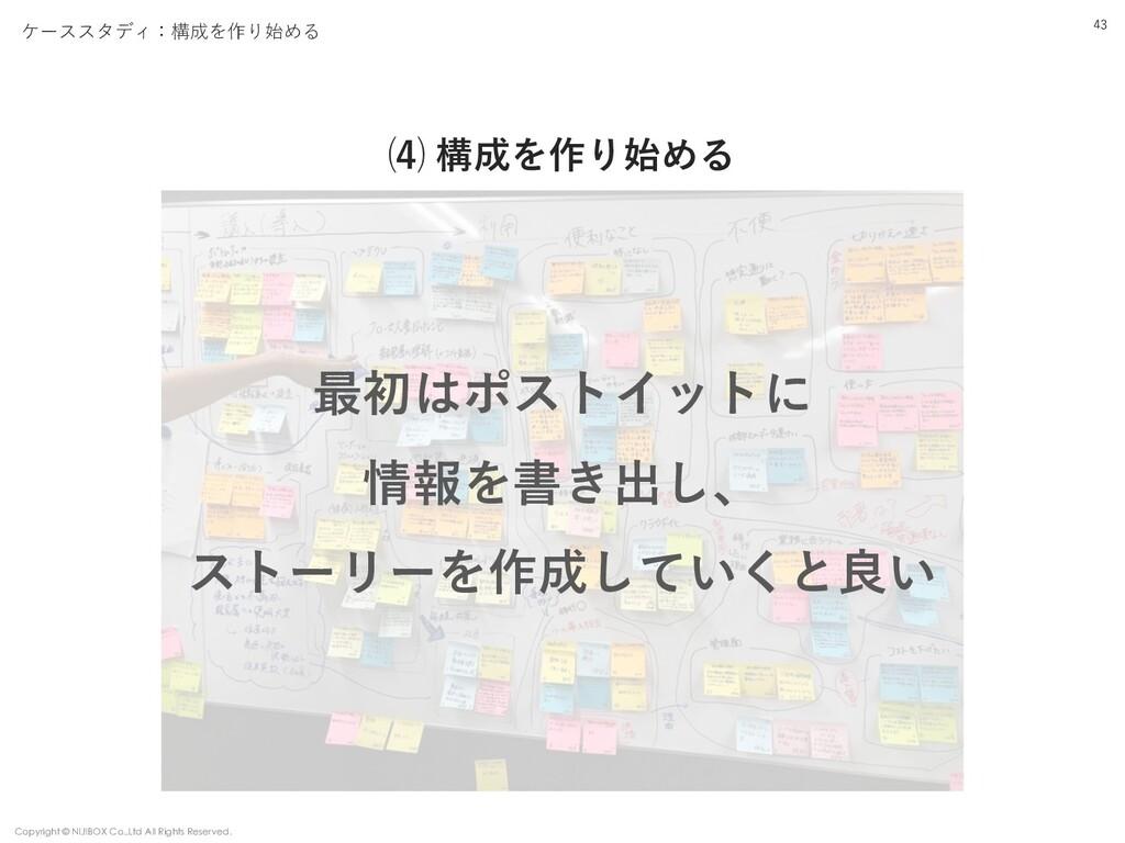 ⑷ 構成を作り始める 43 ケーススタディ:構成を作り始める Copyright © NIJI...