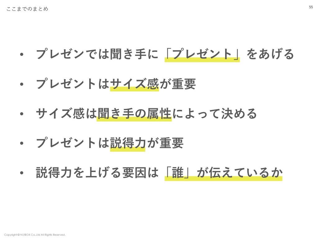 55 ここまでのまとめ Copyright © NIJIBOX Co.,Ltd All Rig...
