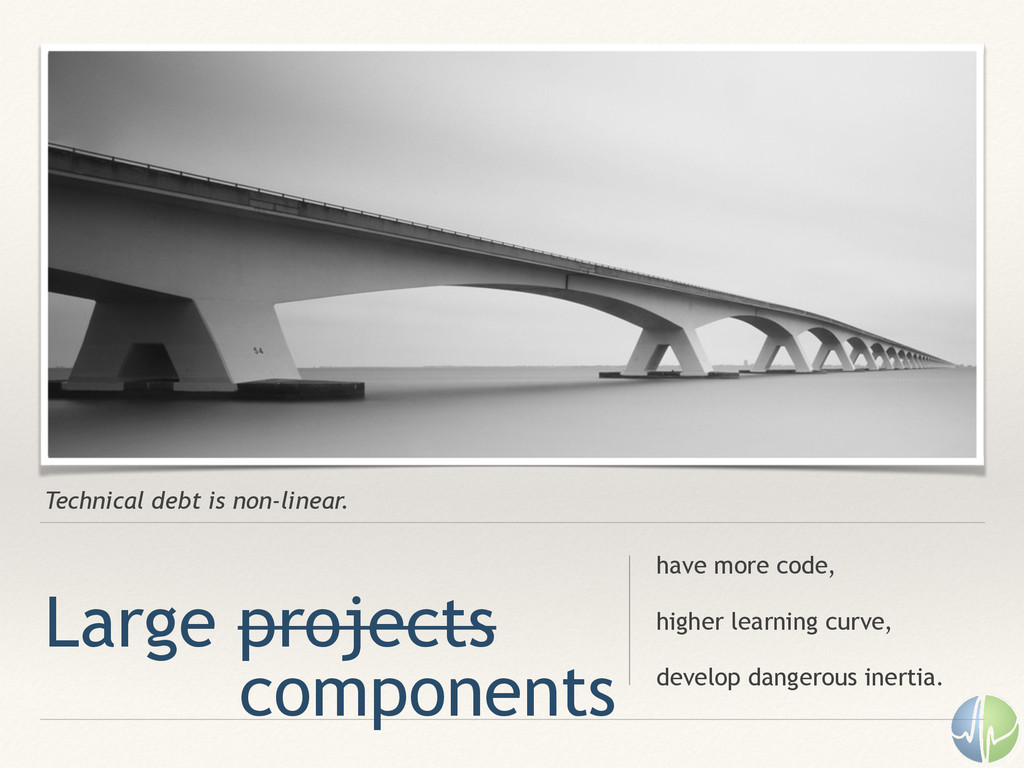 Technical debt is non-linear. Large projects ha...