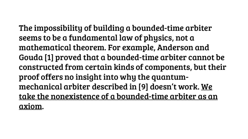 The impossibility of building a bounded-time ar...