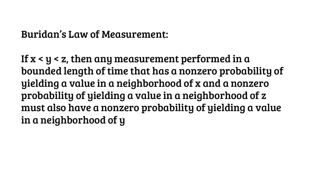 Buridan's Law of Measurement: If x < y < z, the...
