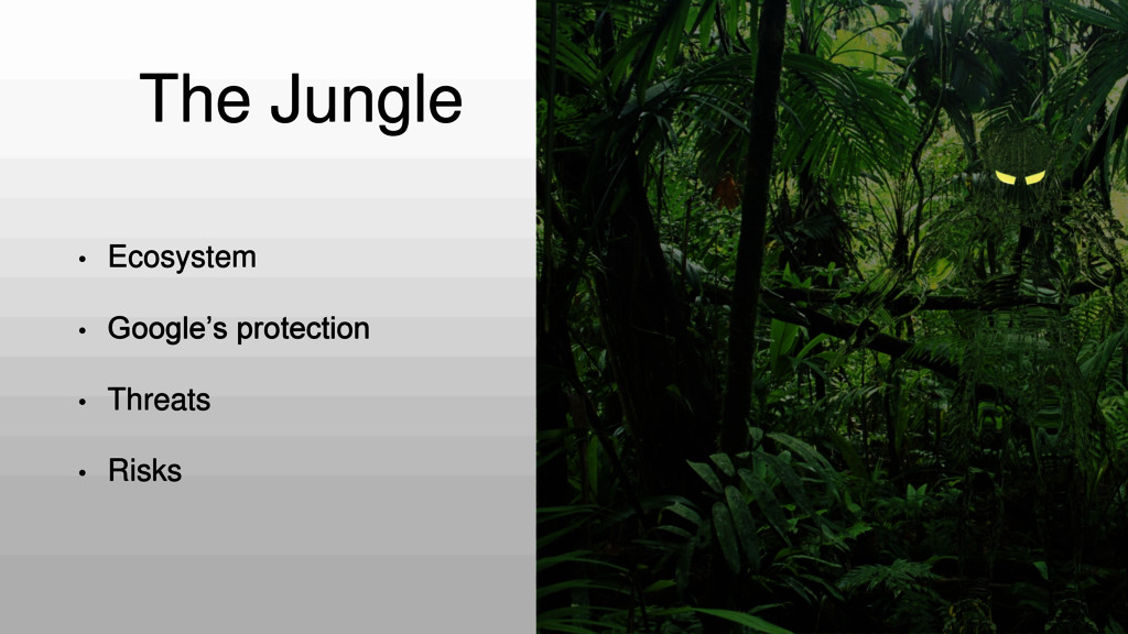 The Jungle • Ecosystem • Google's protection • ...
