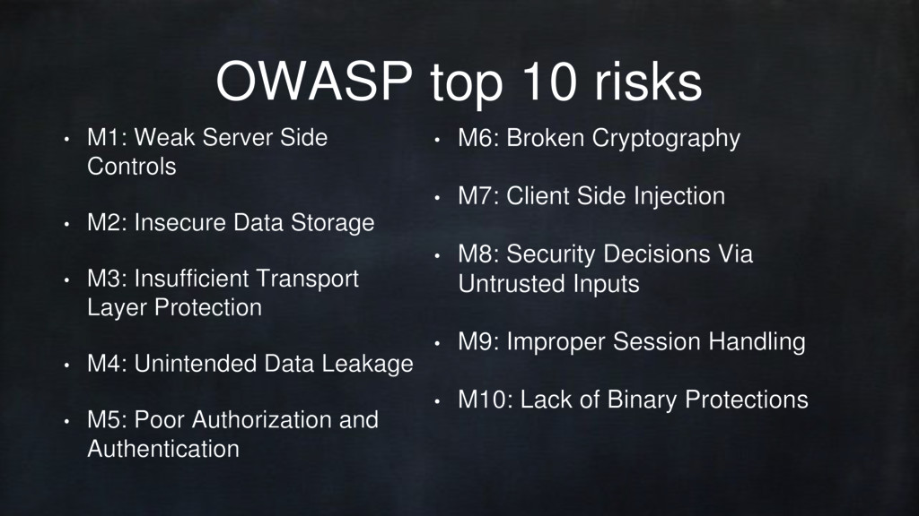 OWASP top 10 risks • M1: Weak Server Side Contr...
