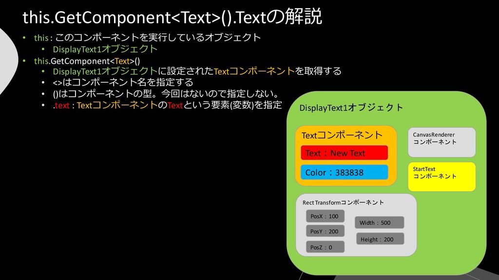 DisplayText1オブジェクト • this : このコンポーネントを実行しているオブジ...