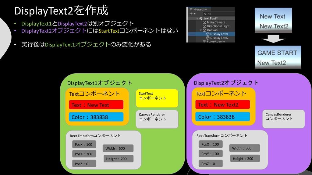 DisplayText2オブジェクト • DisplayText1とDisplayText2は...