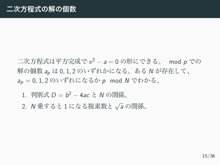 ೋํఔࣜͷղͷݸ ೋํఔࣜฏํͰ x2 − a = 0 ͷܗʹͰ͖Δɻ mod p...