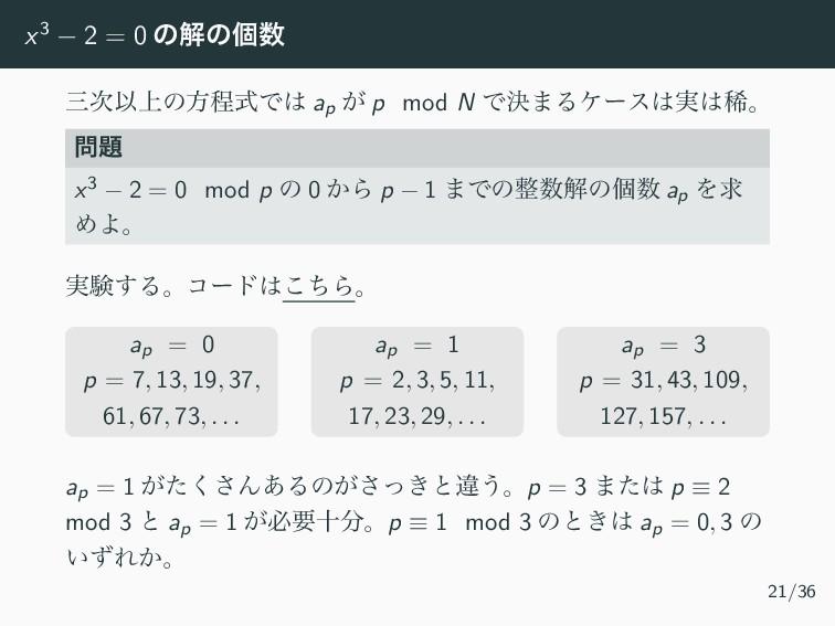 x3 − 2 = 0 ͷղͷݸ Ҏ্ͷํఔࣜͰ ap ͕ p mod N Ͱܾ·Δέʔ...