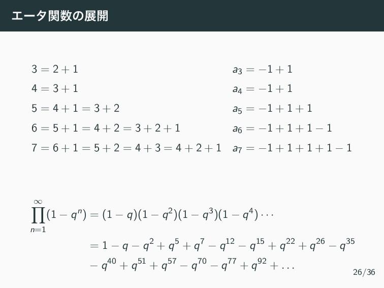 Τʔλؔͷల։ 3 = 2 + 1 a3 = −1 + 1 4 = 3 + 1 a4 = −...