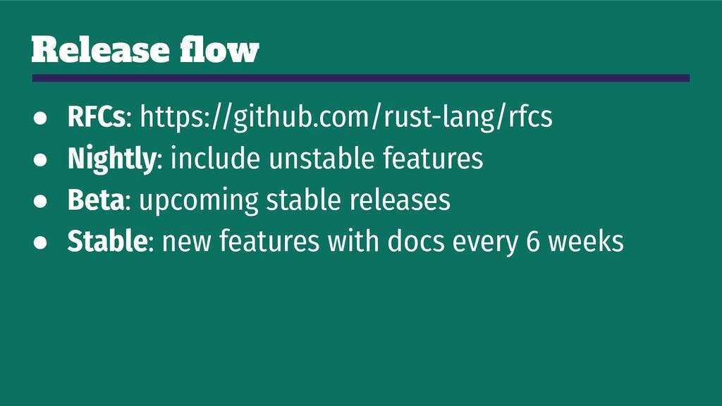 Release flow ● RFCs: https://github.com/rust-lan...