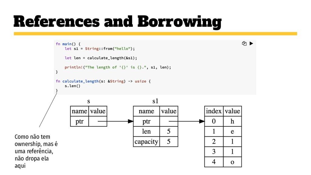 References and Borrowing Como não tem ownership...
