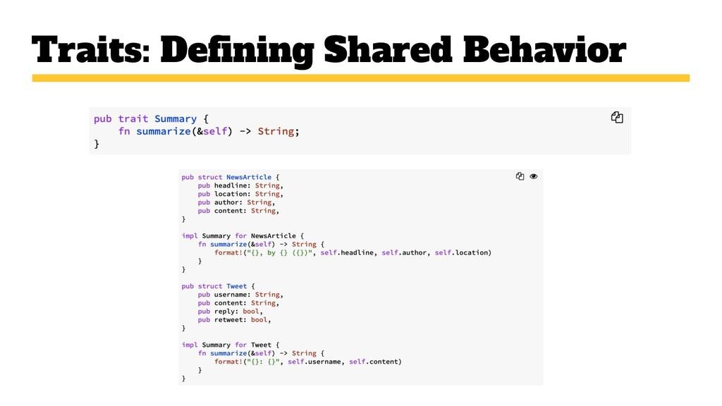 Traits: Defining Shared Behavior