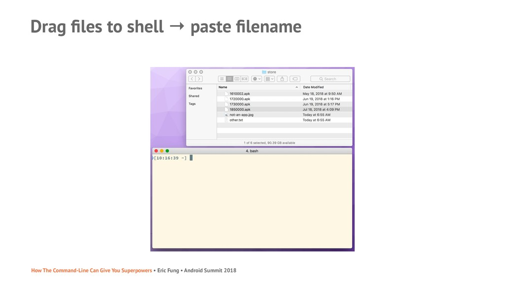 Drag files to shell → paste filename How The Comm...