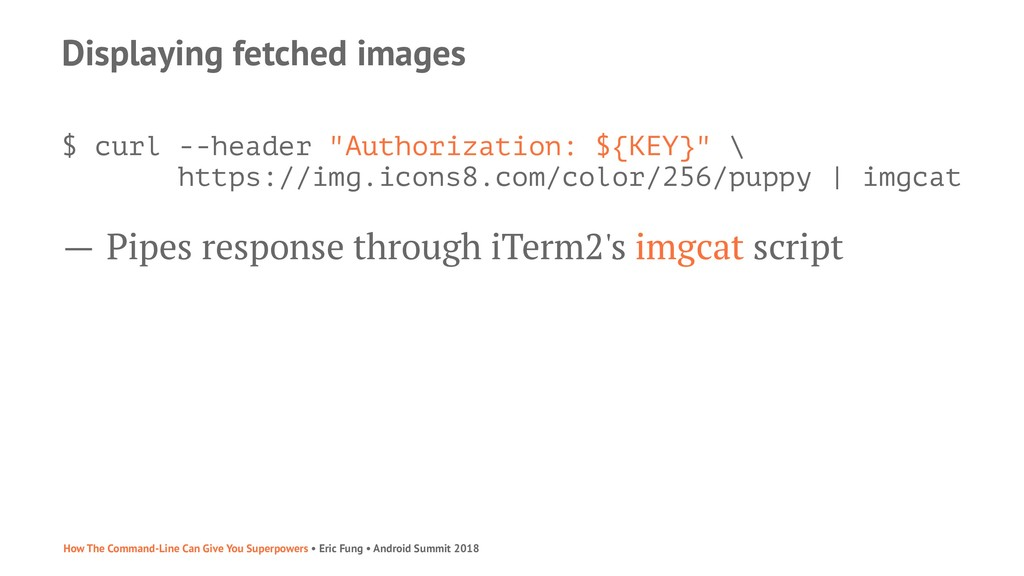 "Displaying fetched images $ curl --header ""Auth..."