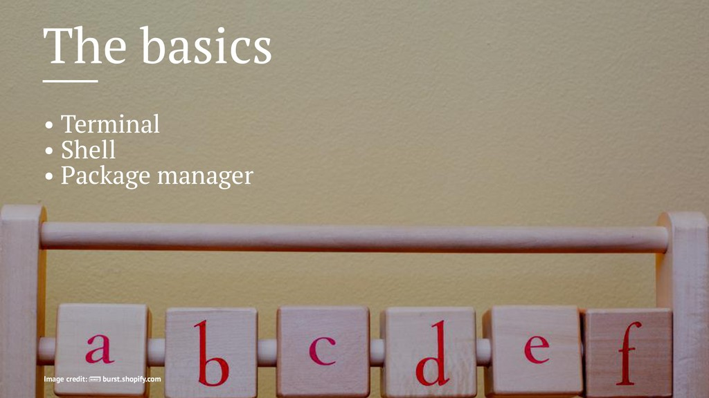 The basics • Terminal • Shell • Package manager...