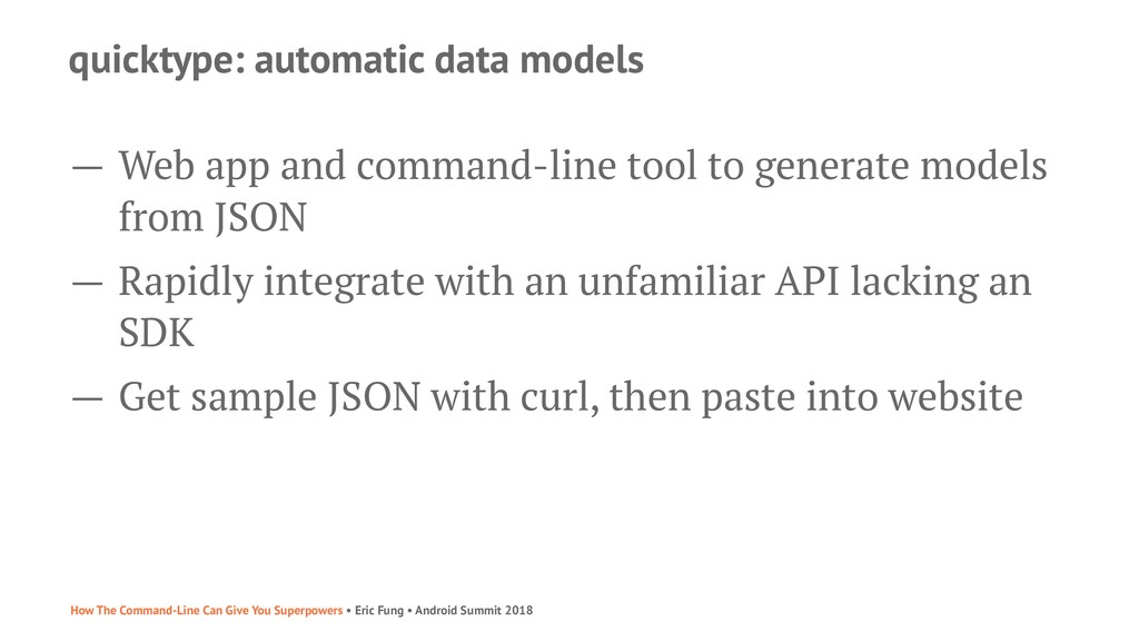 quicktype: automatic data models — Web app and ...