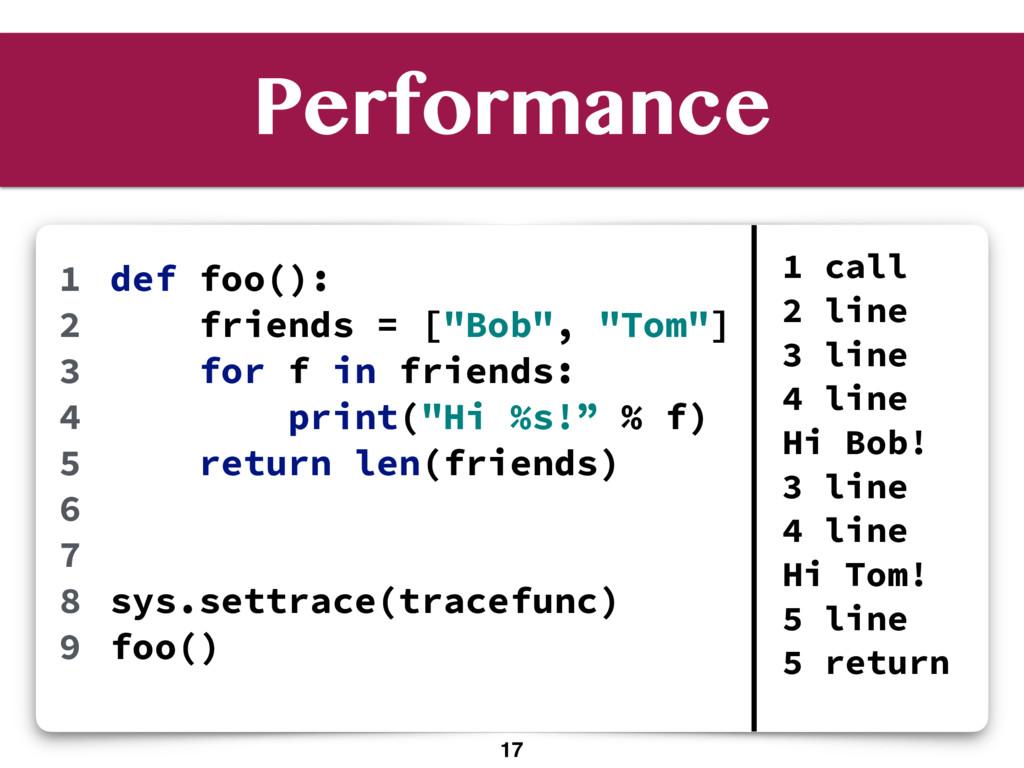 """Performance def foo(): friends = [""""Bob"""", """"Tom""""]..."""