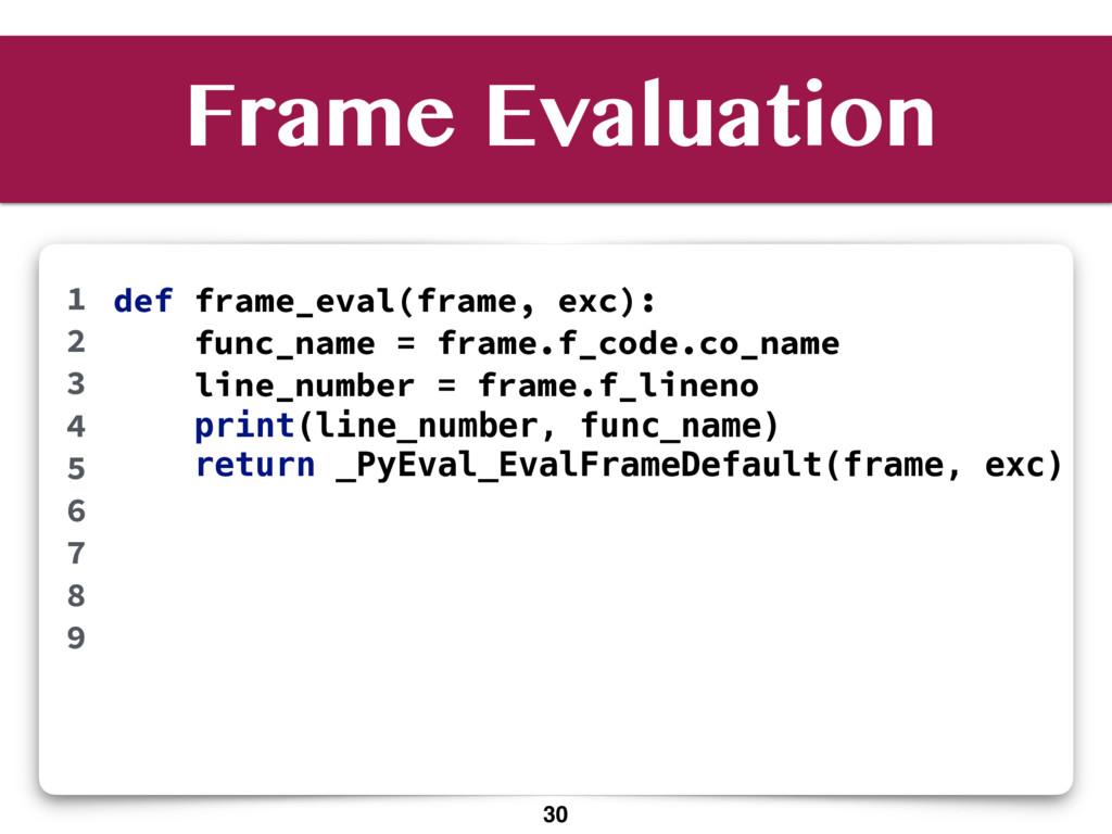 Frame Evaluation def frame_eval(frame, exc): fu...