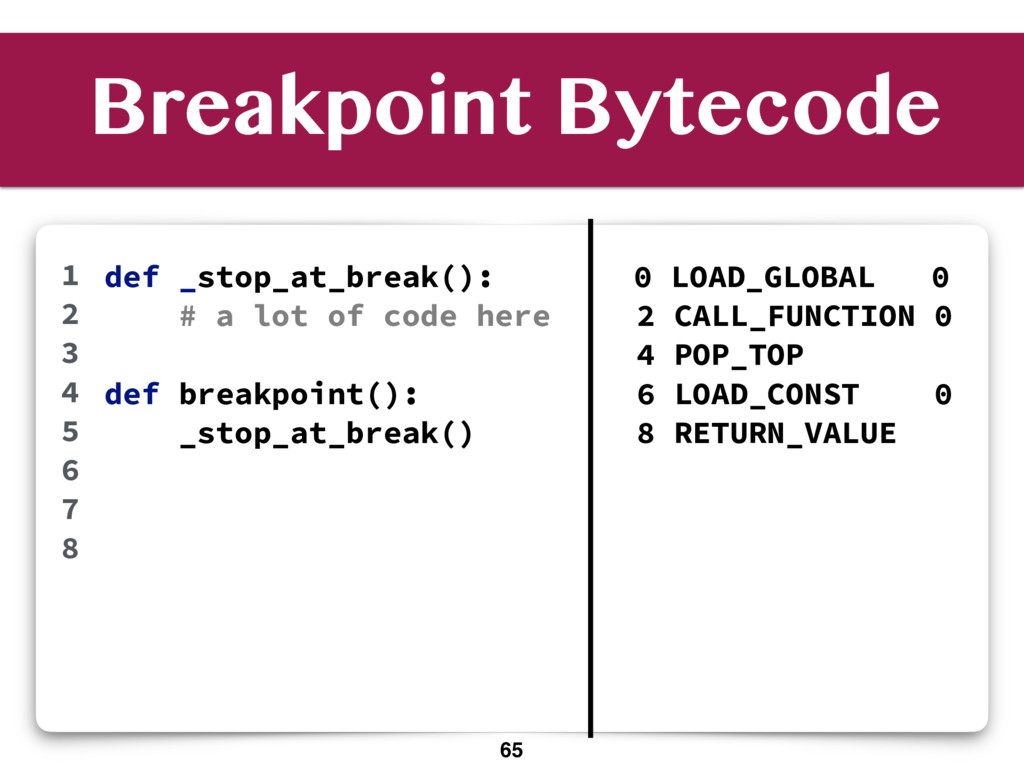 Breakpoint Bytecode def _stop_at_break(): # a l...