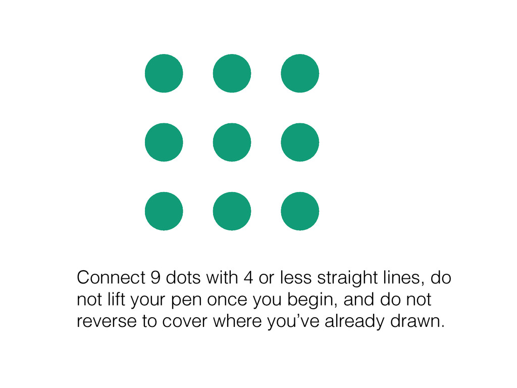 Connect 9 dots with 4 or less straight lines, d...